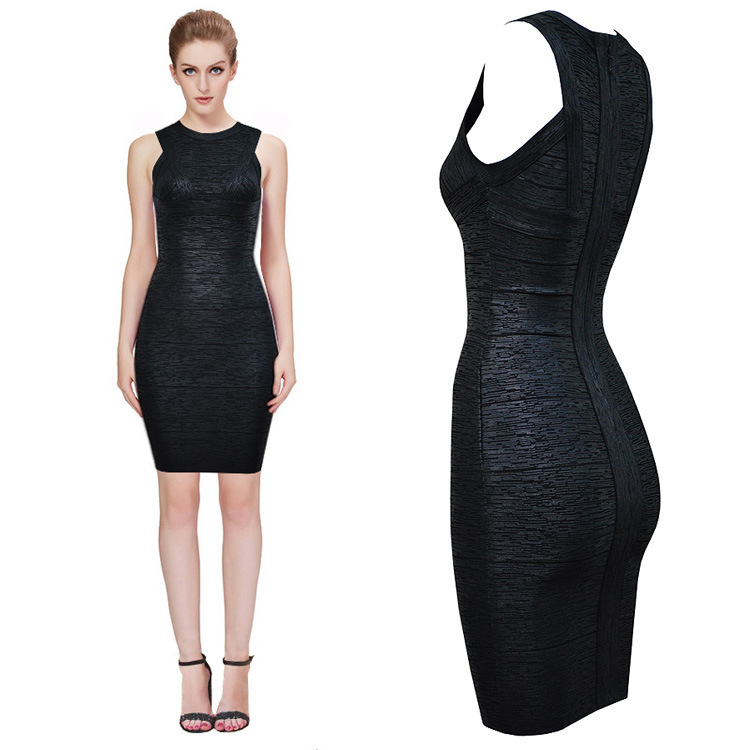 Silver Stamping Black Bandage Bodycon High-Grade Dubutantes Auto Show Party Dresses