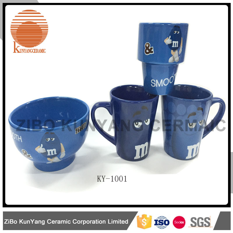 Mars mm Blue Decal Mug with Bowl Set