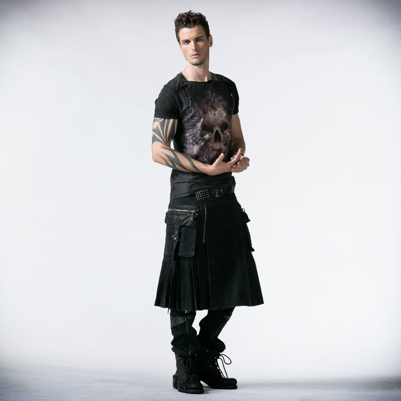 Punk Rave Wholesale Gothic Black Men Skirts (Q-225)