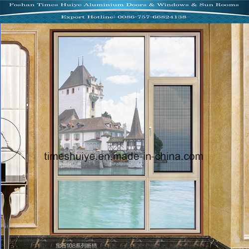 Aluminium Window with Double Glass and Heat Insulation