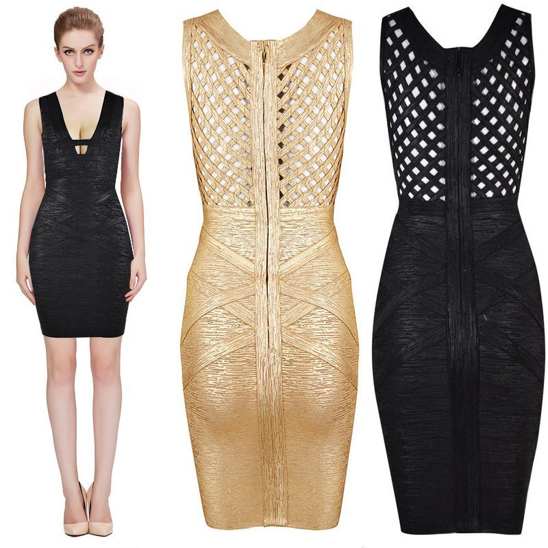 Deep V Hollow Knitted Bandage Gold Stamping Night Club Dresses