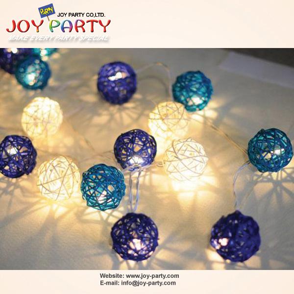 White and Blue 5cm Rattan Ball LED String Light (Joy2-9950)