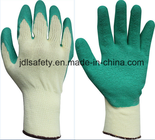 Blue Work Glove with Wrinkle Latex Coating (LY2012)