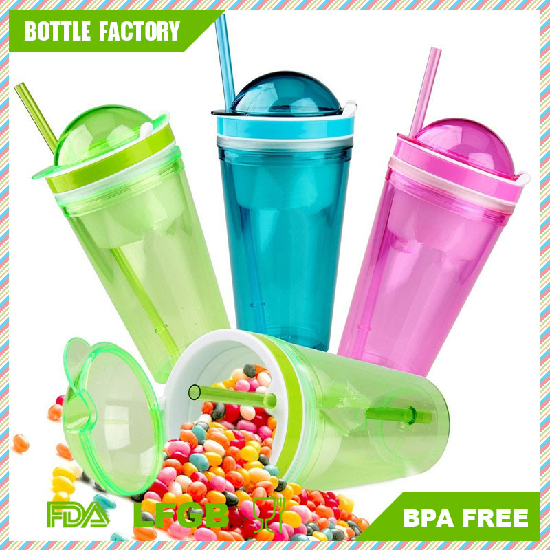 Plastic Double Wall Snack Cup with Semi-Circular Cover and Straw