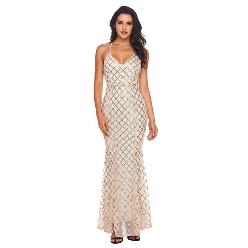Ladies Fashion Black Gold Sequins Crisscross Evening Long Dresses