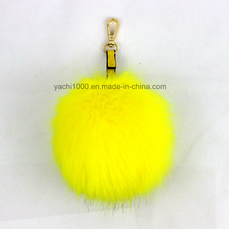 Plush Faux Fur Ball Keychains with Big Eyes