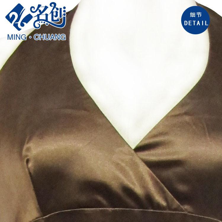 Brown Slimmering-Waist Decussate-V-Neckline Exposing-Back Sexy Fashion Ladies Dress