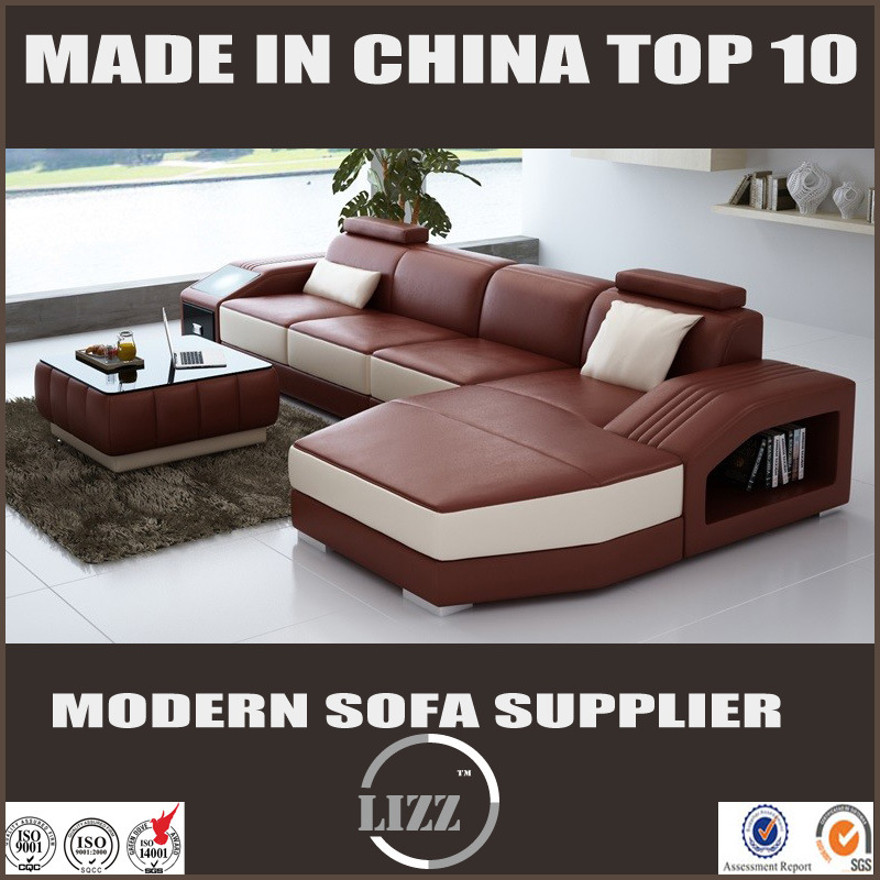 Newest European Living Room Furniture Corner Leather Sofa Divani