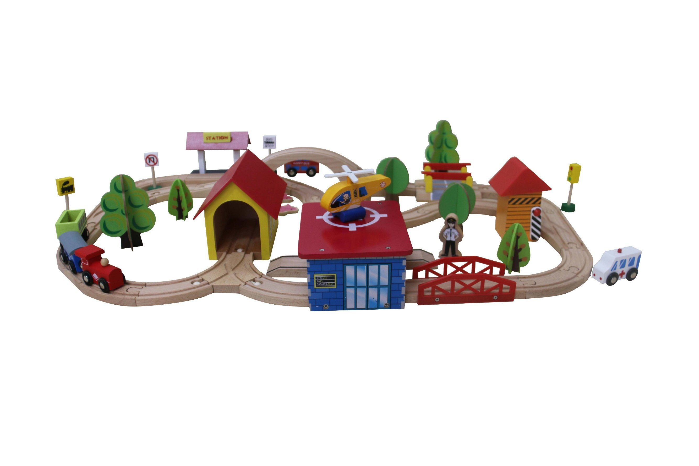 69PCS Wooden Fishing Train Set Toy for Kids