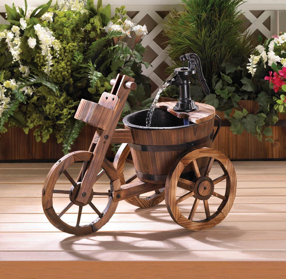 Tricycle Barrel Fountain with Pump Garden Patio Water Feature