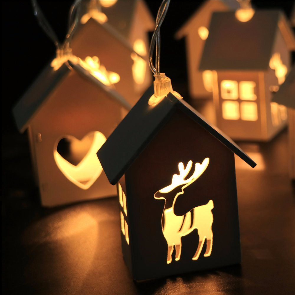 House Shape String Lights Silver Wire Battery Operated Waterproof Design Warm White Design