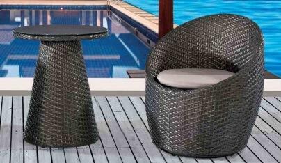 Garden Outdoor Furniture Rattan Chair and Tea Table
