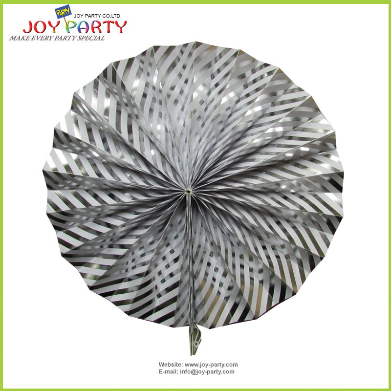 "11"" Silver Hanging Honeycomb Paper Fans"