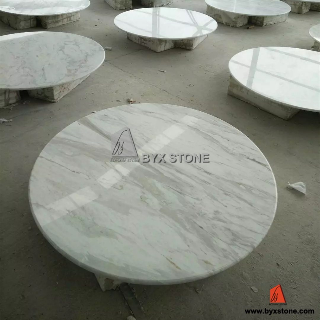White Volakas Marble Round Stone Table Top For Houses, Hotel