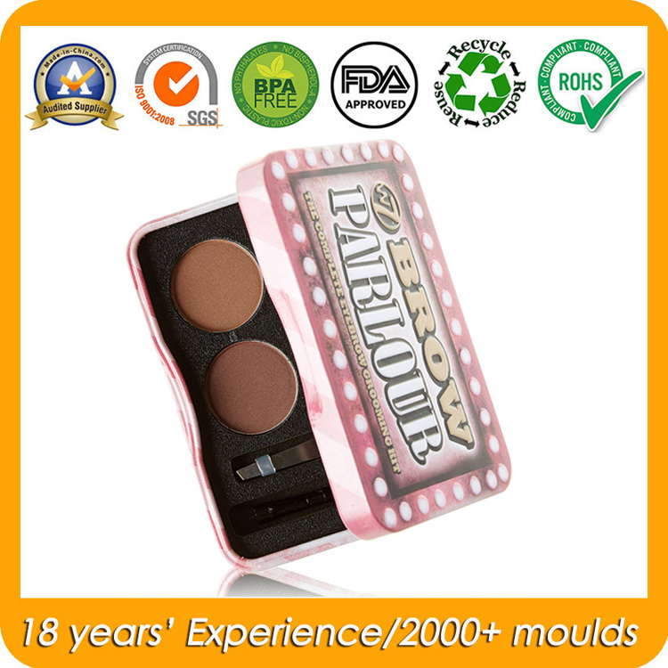 Hinged Metal Cosmetic Tin Container for Makeup Kit