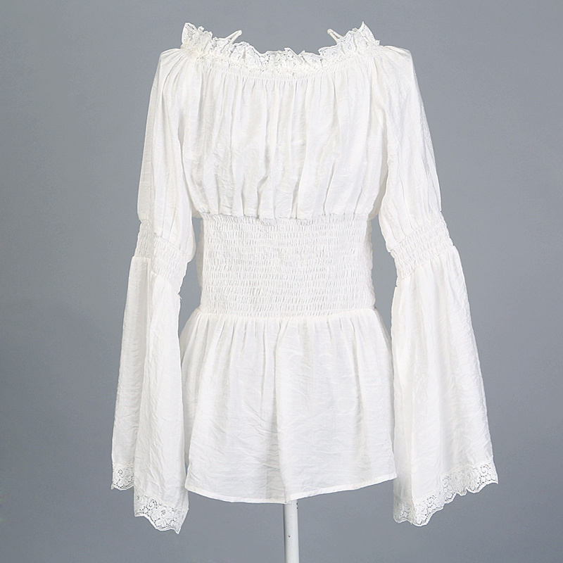 Peasant Blouse White Lace Trim Womens Tunic Tops Shirts Plus Sizes