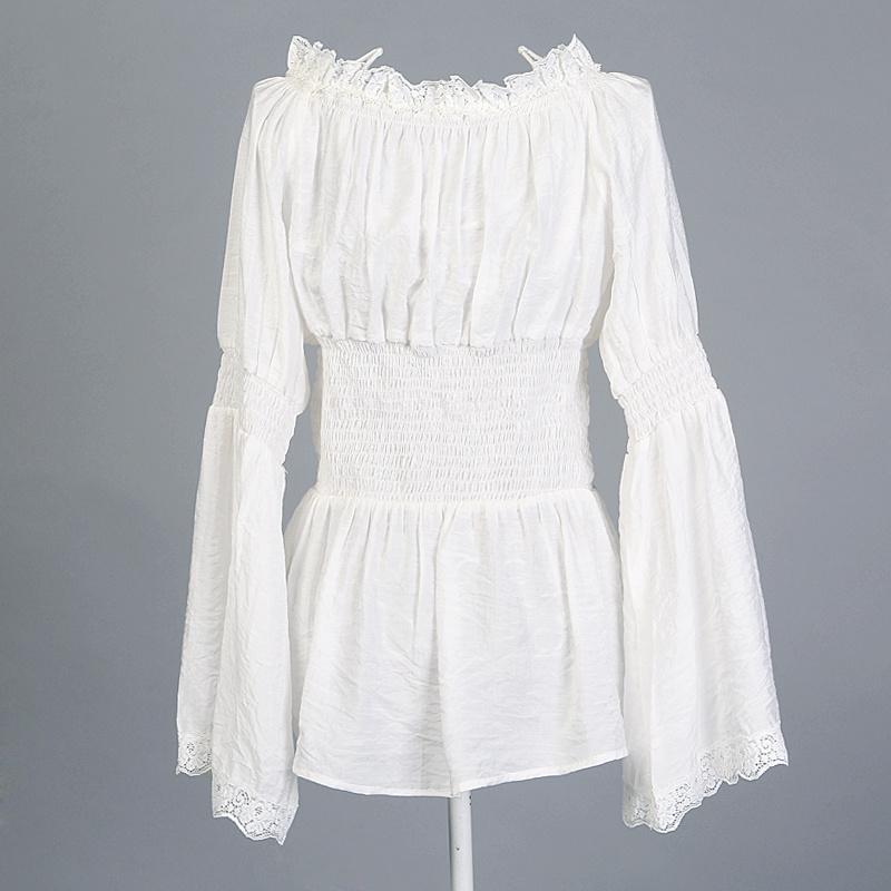 Peasant Blouse White Lace Trim Womens Tunic Tops Shirts Plus Sizes