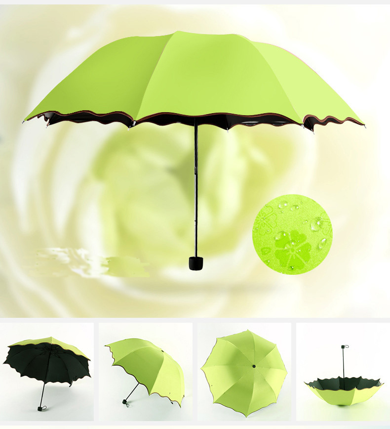 Magic Water Mark Printing Flower Edge Girl′s Dome Shape Folding Umbrella
