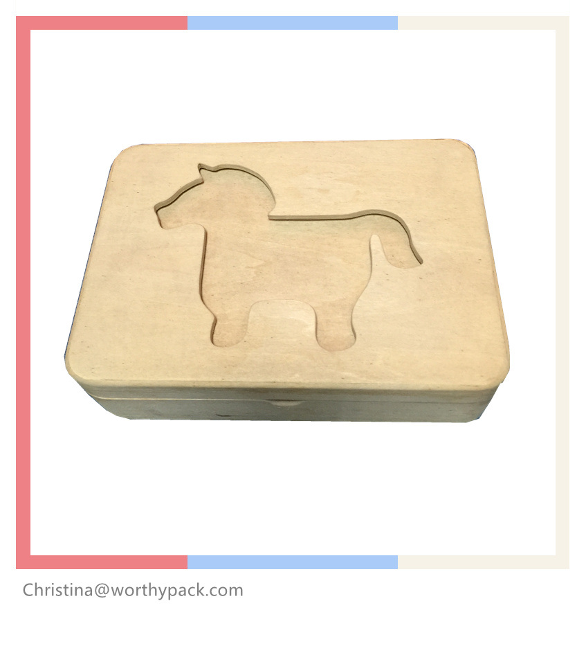 Embossed Wooden Gift Box with Hingled Lid