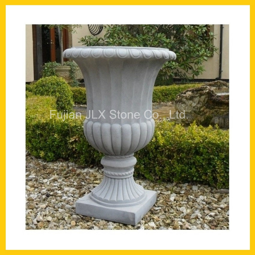 White Marble Antique Flower Pot Stone Garden Planter