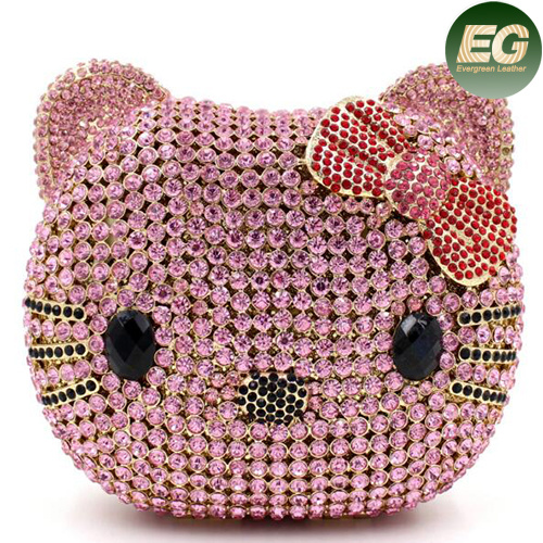 Fashion Crystalstone Evening Bag Cat Face Ladies Clutch Bags Handbag Leb737