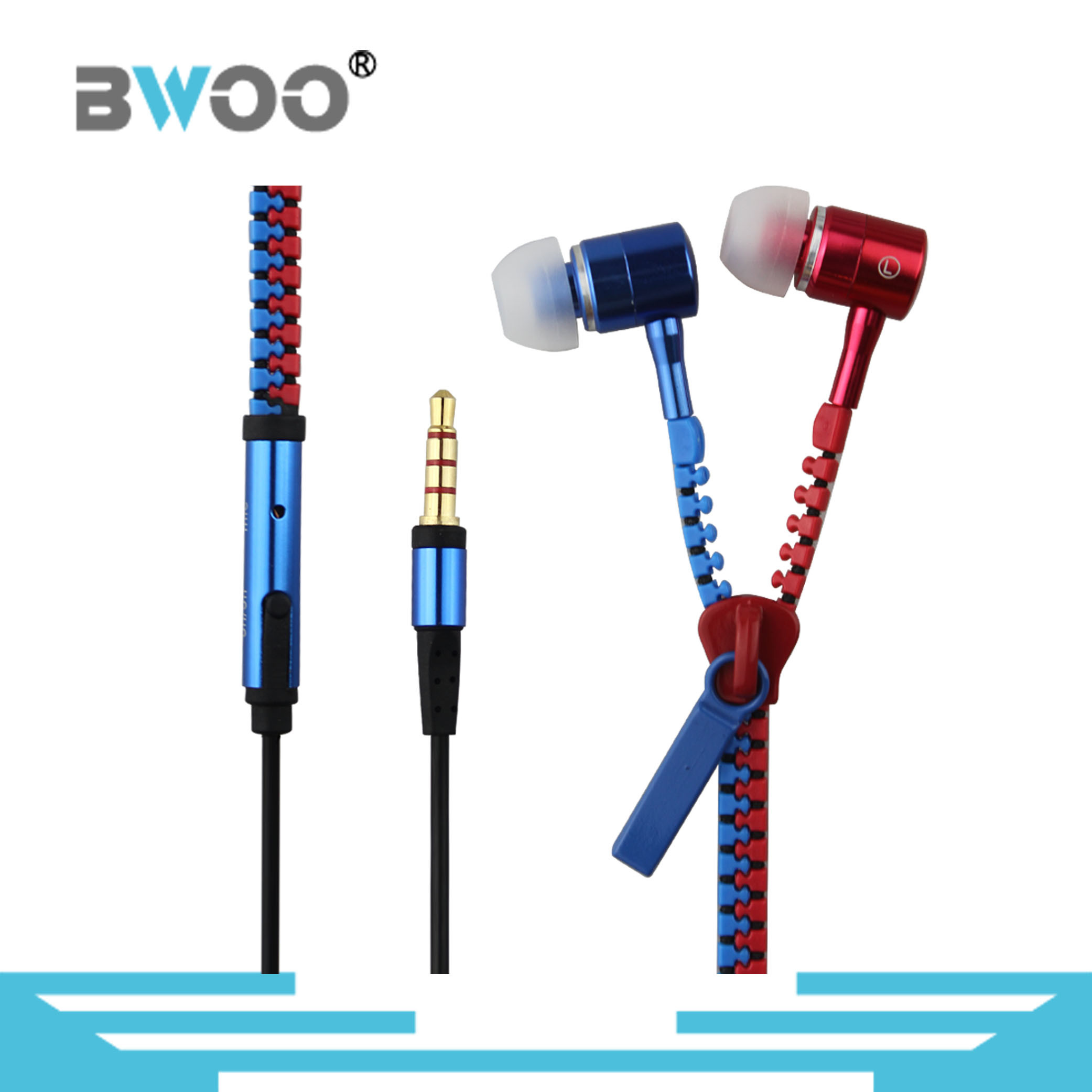 Color Matching Metal Zipper Wired Earphone for Smart Phone