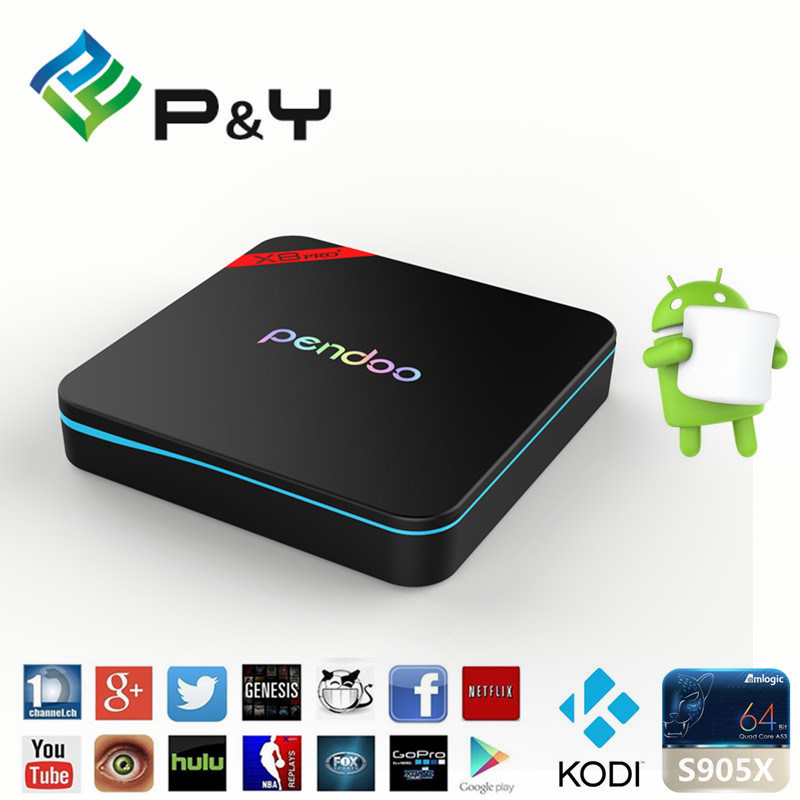 2016 Highperformance Pendoo X8 PRO+ Android 6.0 Amlogic S905X Media Player