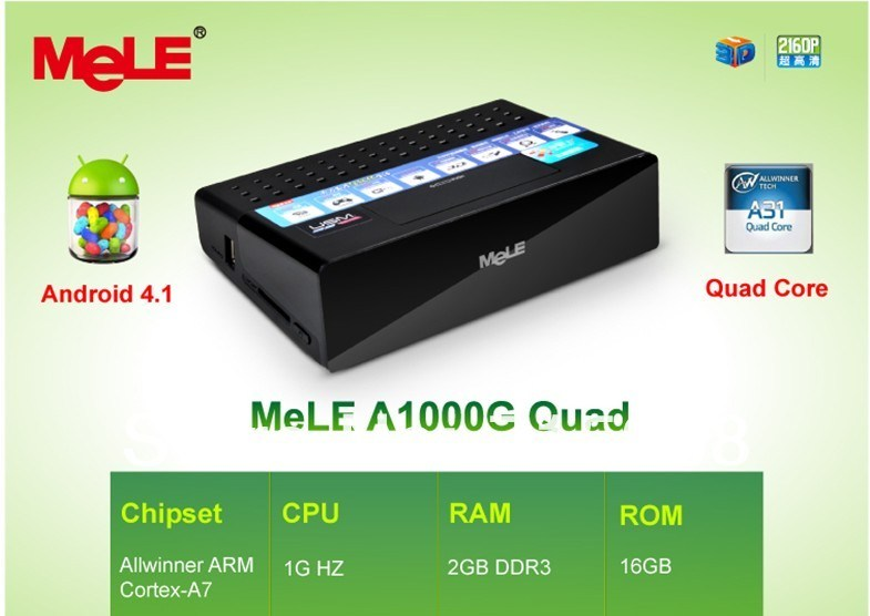 HD 1080P Media Player Android 4.1 Allwinner A31 ARM Cortex A7 2GB RAM