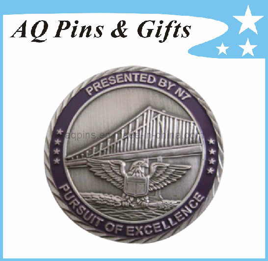 Metal Eagle Military Challenge Coin with Enamel Color