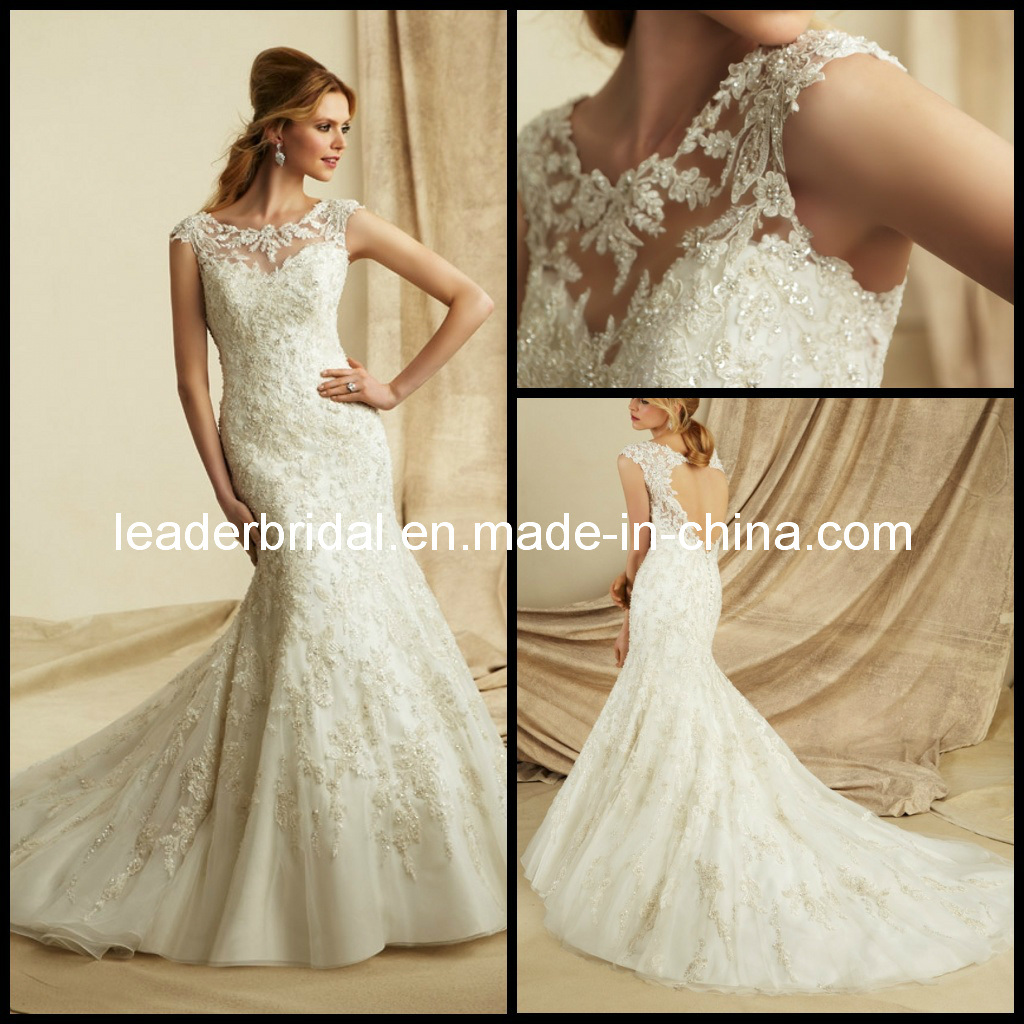 China Sheer Lace Beaded Mermaid Boat Neck Bridal Wedding Dresses M1273 Photos Amp Pictures