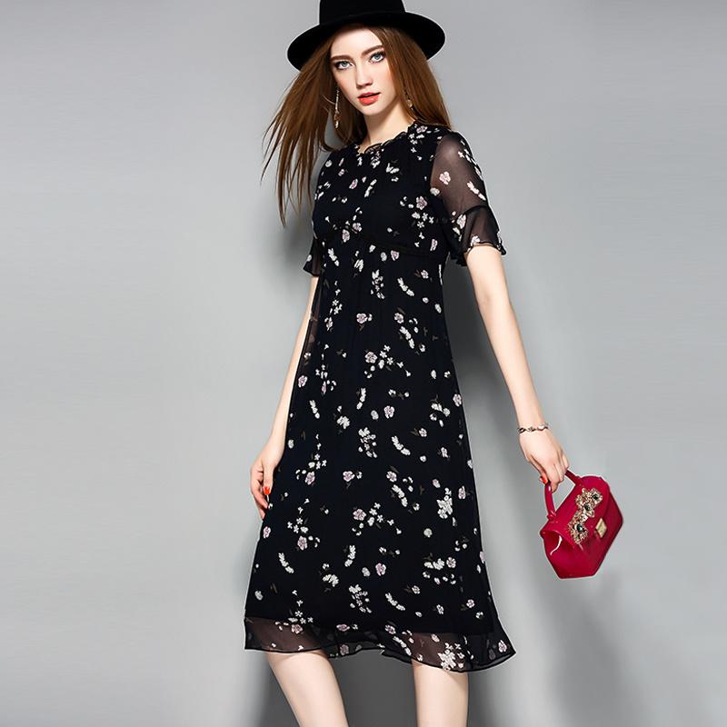 Ruffle Collar Short Sleeve Hollow Waist Lace Silk Women Dress