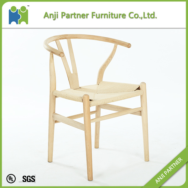 Light Yellow Convenitent Wax Wood Dining Chair with Paper Rattan Seat (Andrea)