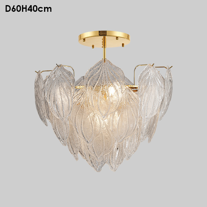 Modern Gold Color Big Leaves Shell Hand Blown Glass Chandelier