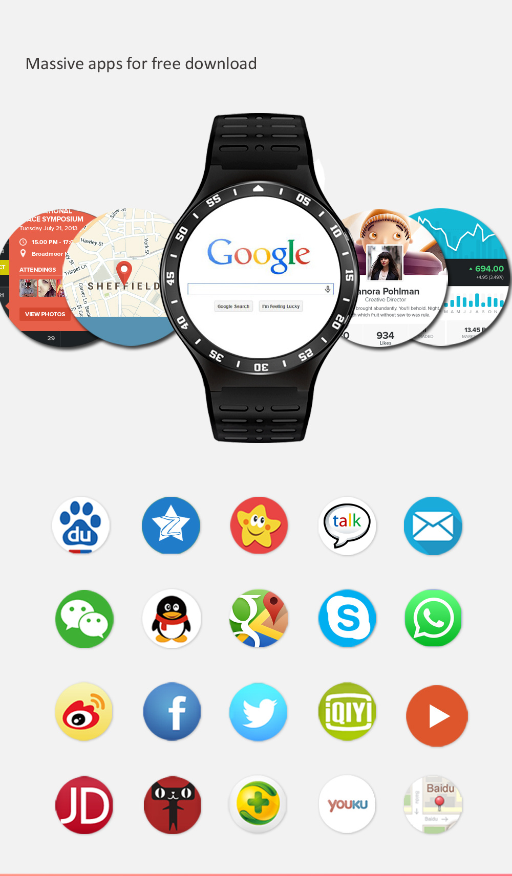 Android 5.1 Bluetooth4.0 GPS Google APP Heart Rate Fitness Tracker Smartwatch Phones