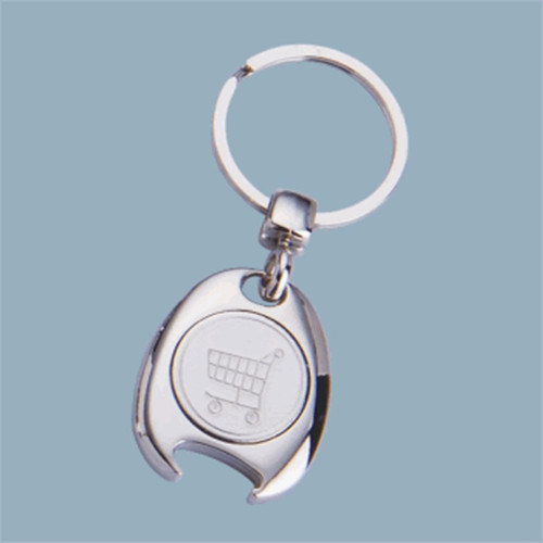 Promotional Gift Shopping Trolley Coin Key Chain Bottle Opener (F1293)