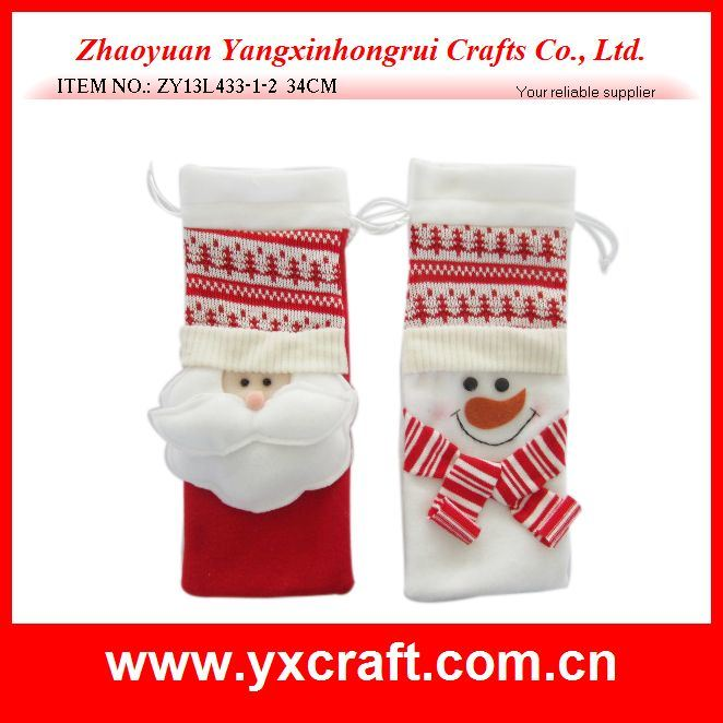 Christmas Decoration (ZY13L433-1-2 34CM) Red Christmas Gift Bag