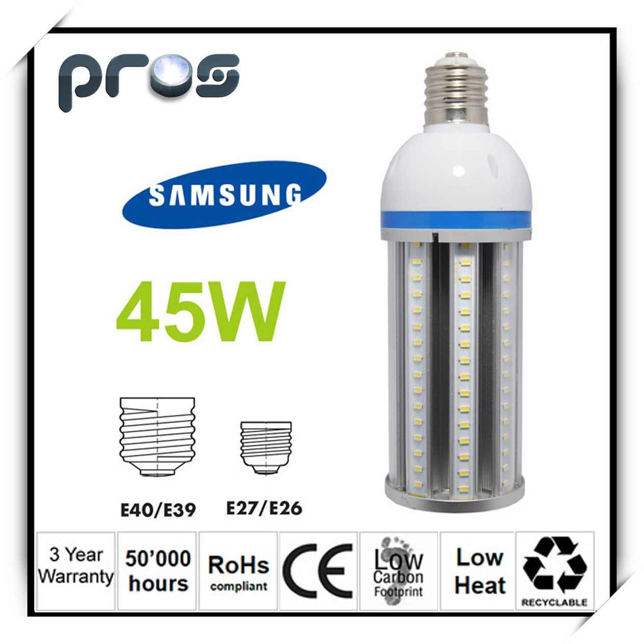 45W Corn Light LED 110lm/W, LED Corn Bulb for Warehouse