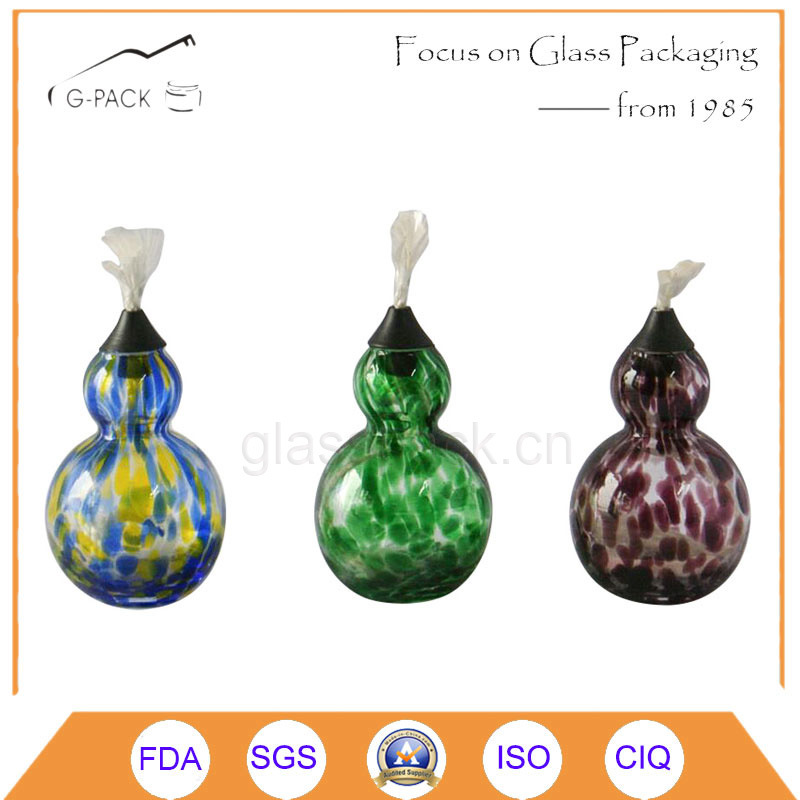 Calabash Shape Glass Oil Lamp with Wicks