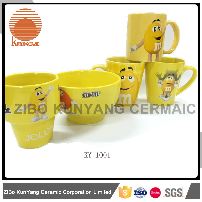 Mars mm Yellow Decal Mug with Bowl Set