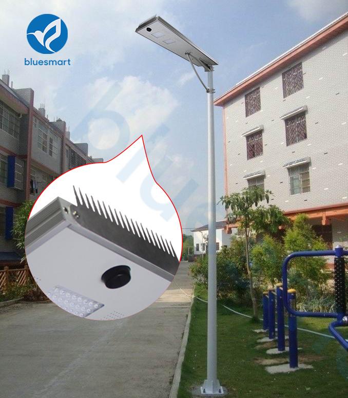 Bluesmart 80W Solar Panel Outdoor Integrated LED Street Garden Light with Bird-Preventing Thorn