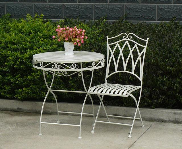 White Metal Garden Side Table: China Very Nice Antique White Round Metal Folding Garden