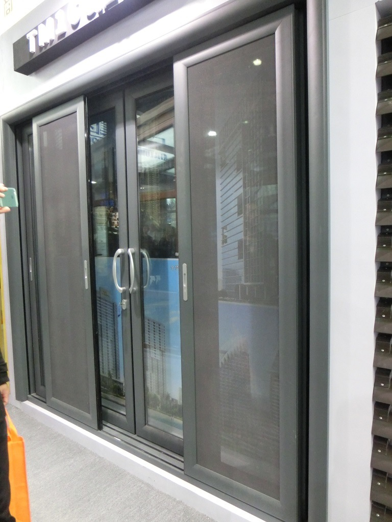 China aluminium sliding door with slide mosquito screen for Aluminum sliding glass doors