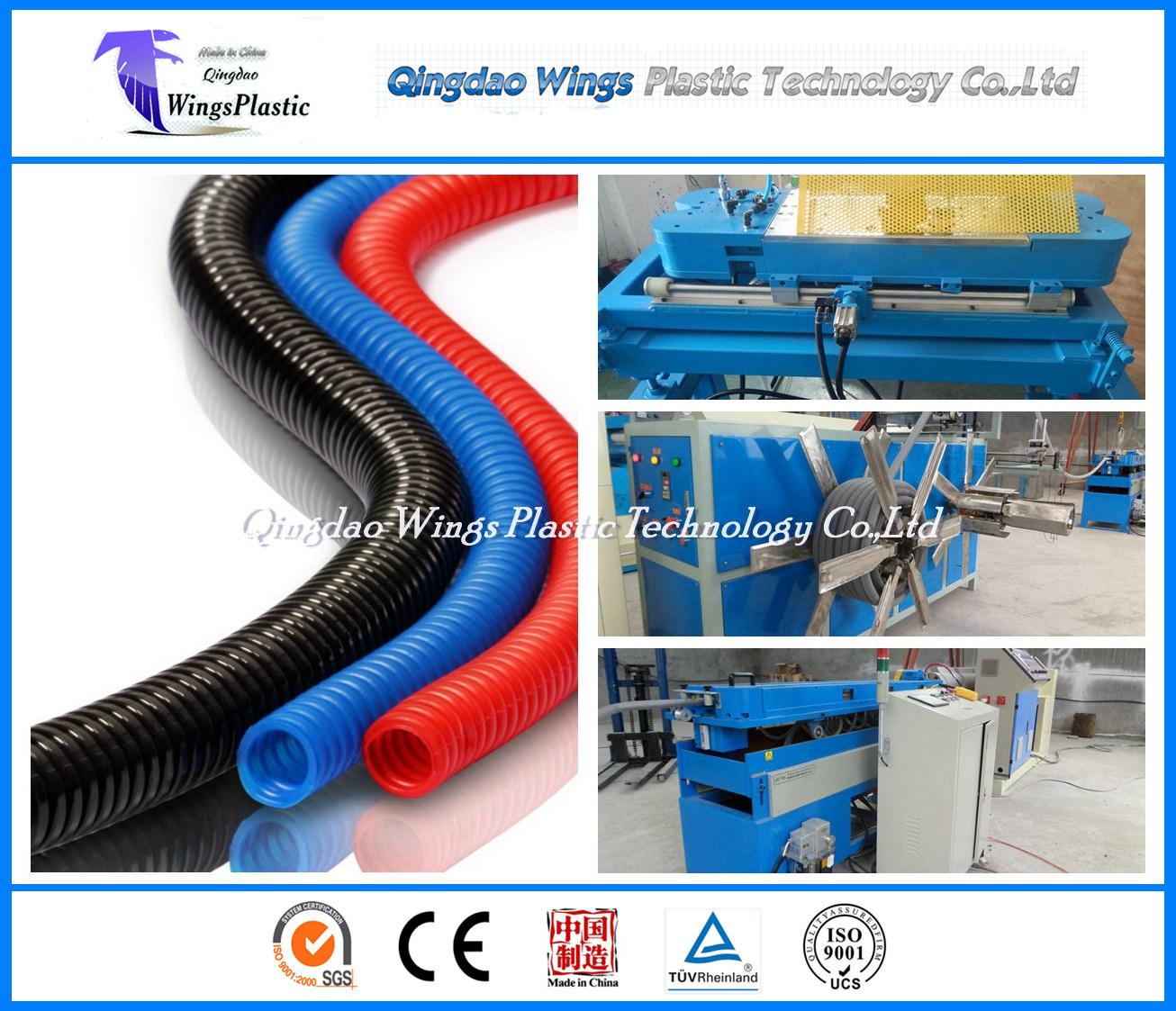 Electrical Conduit Plastic PE PVC Single Wall Corrugated Pipe Making Machine / Extrusion Line