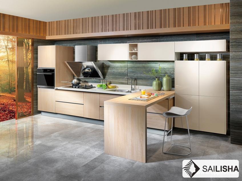 UV Spain Modern Home Hotel Furniture Island Wood Kitchen Cabinet