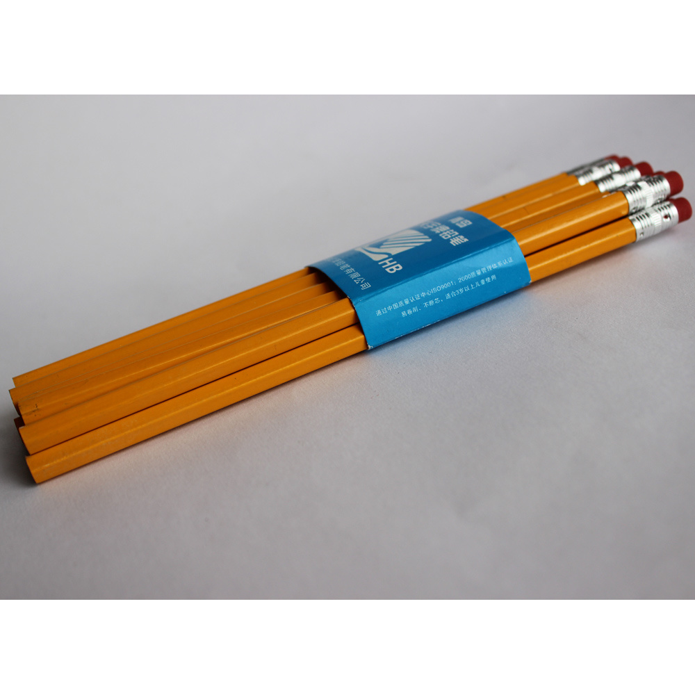 Yellow Pencils with Eraser Tip in Paper Sleeve of 12PCS (1621)