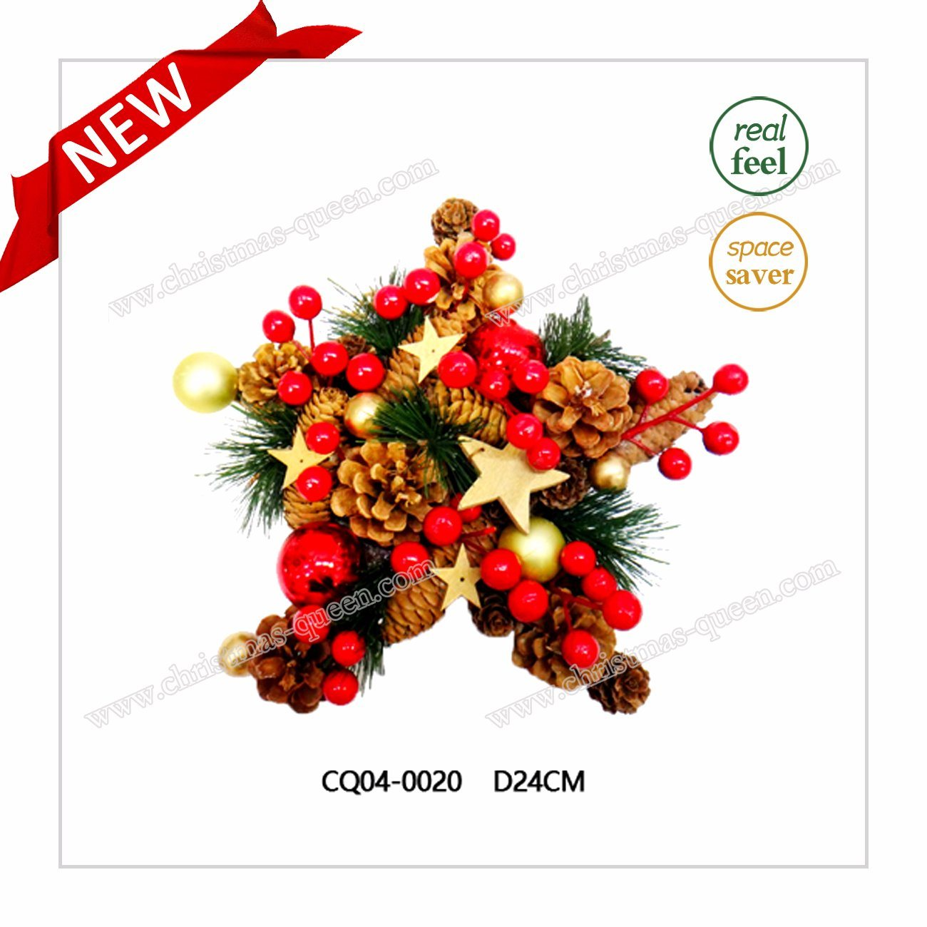 Attractive H51cm Plastic Christmas Pine Cones and Christmas Ball for Party