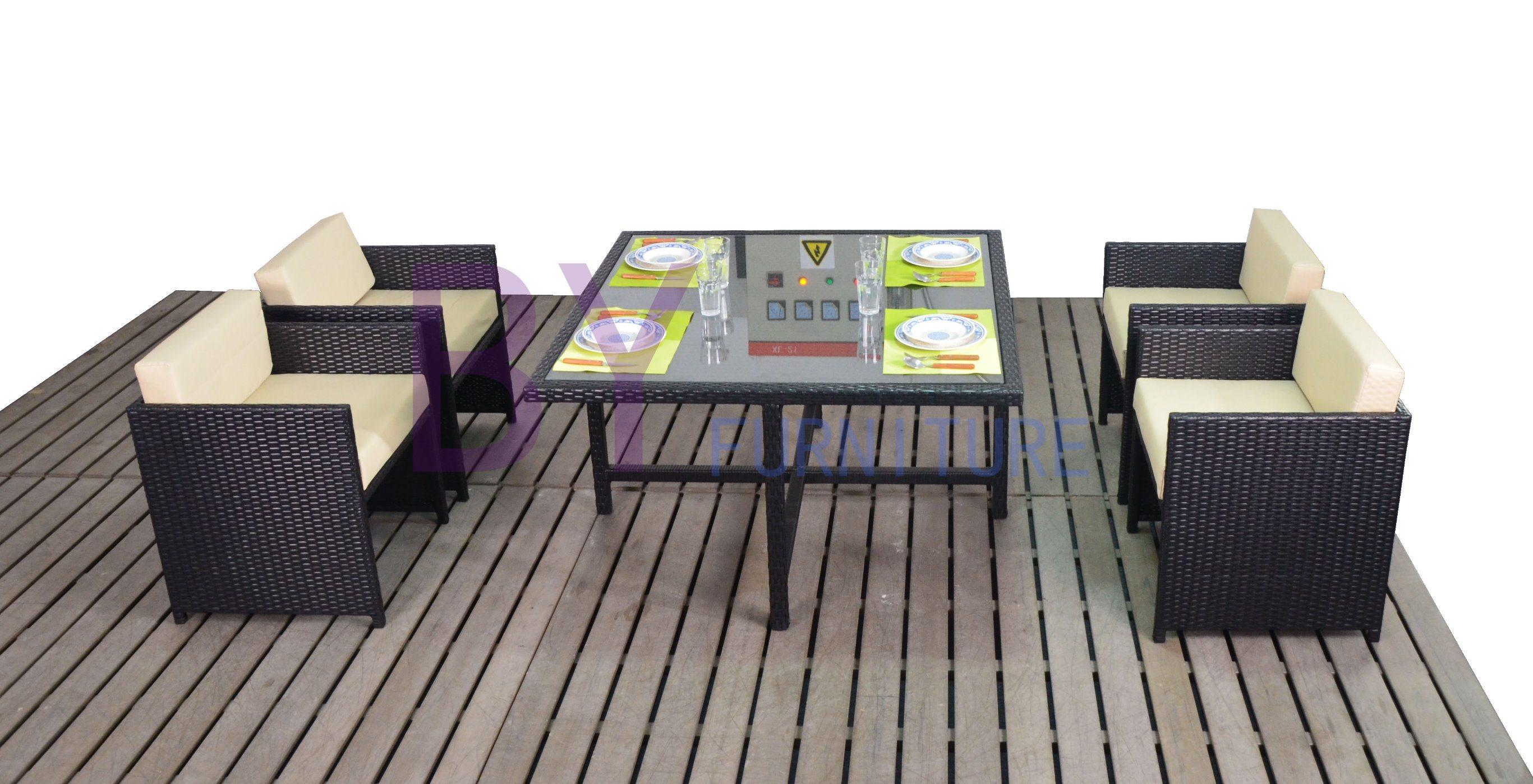 Outdoor Courtyard Garden Leisure Hotel Coffee Bar Dining Furniture with PE Rattan