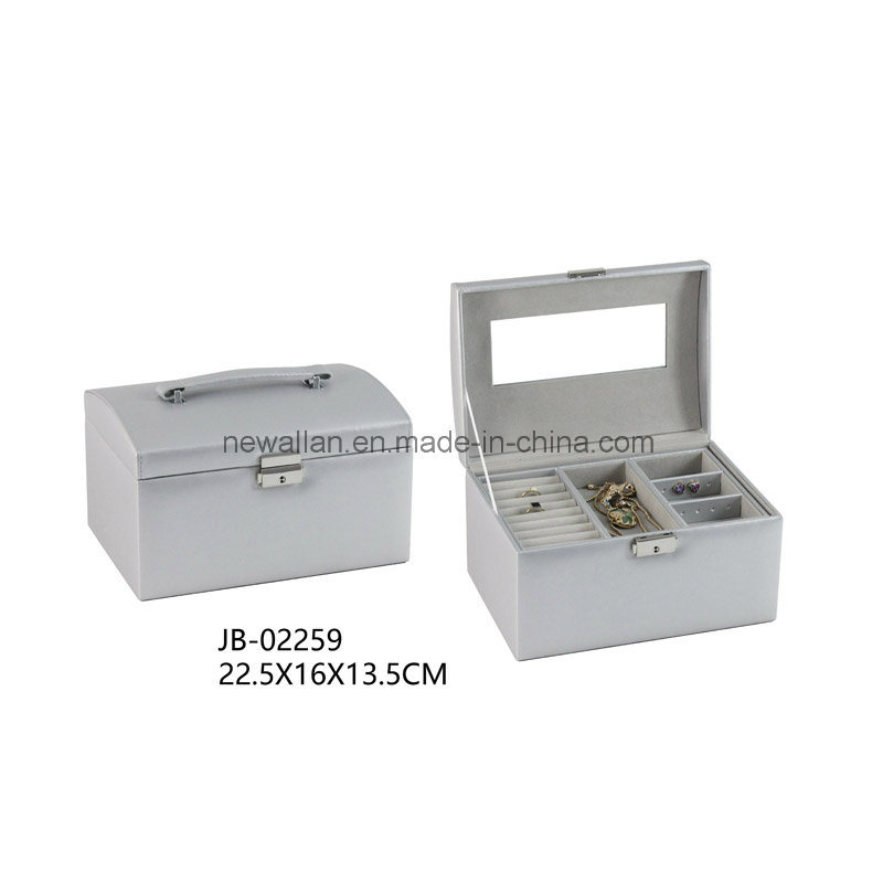 Sweet Design Silver Leather Square Shape Travel Jewelry Gift Box Jewelry Box