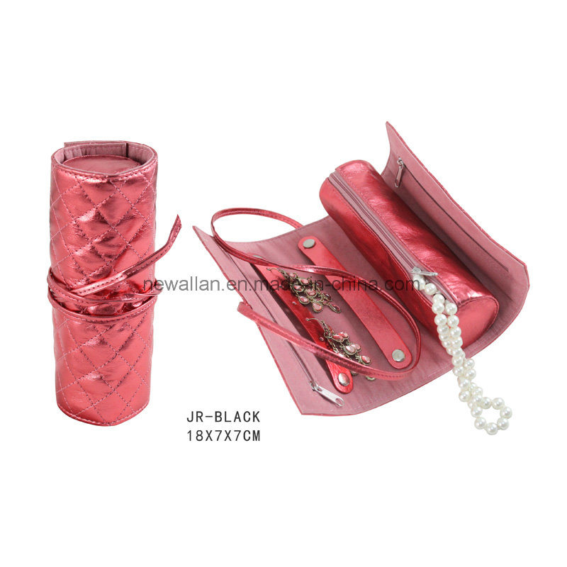 Red Leather Round Shap Travel Jewelry Packing Roll Bag Leather Jewelry Roll