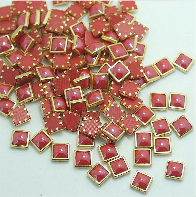 Metal Rimmed Hot Fix Ceramic Stones Rhinestone Hot Fix Ceramic Beads for Nail Art Decoration (HF-Square 6mm)